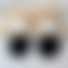 Boucles d'oreilles emilie - sequin noir et clou carré - esprit vintage