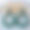 Boucles d'oreilles (grand modèle) créoles perles vert en résine - esprit vintage