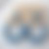 Boucles d'oreilles aurore - créoles perles dorées et bleu denim en résine - esprit vintage