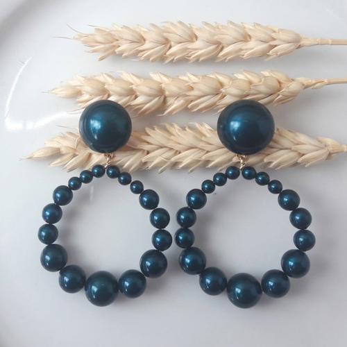 Boucles d'oreilles (gros cabochon grand modèle) créoles perles en cristal bleu pétrol - esprit vintage