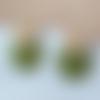 Boucles d'oreilles mini nina - sequin rond kaki et clou fleur - esprit vintage