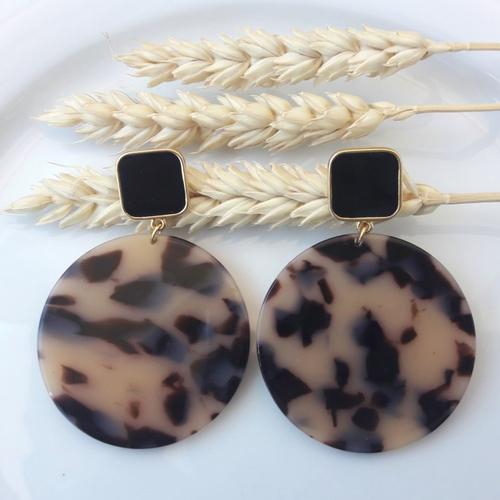 Boucles d'oreilles emilie - pendentif en acétate écaille de tortue beige noir - esprit vintage