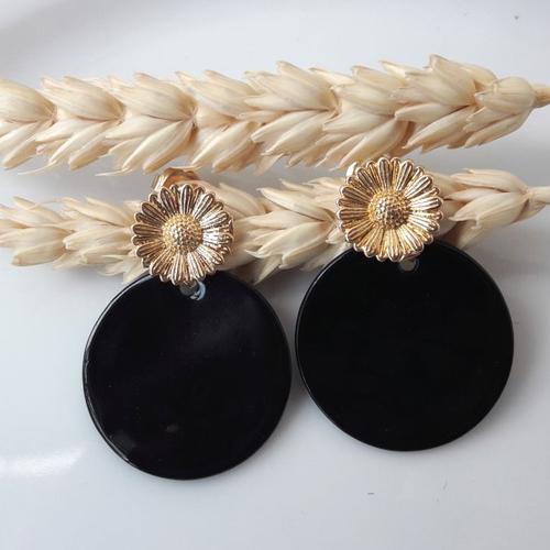 Boucles d'oreilles emma - sequin nacre noire et clou fleur tournesol - esprit vintage
