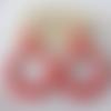 Boucles d'oreilles (modèle xl) créoles perles rouge corail en résine - esprit vintage