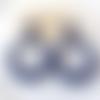 Boucles d'oreilles (modèle xl) créoles perles bleu marine en résine - esprit vintage