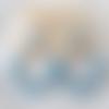 Boucles d'oreilles aurore - créoles perles dorées et bleu vintage en résine - esprit vintage