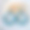 Boucles d'oreilles (modèle xl) créoles perles bleu vintage clair en résine - esprit vintage