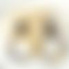 Boucles d'oreilles emilie - créole en acétate marron noir et clou carré - esprit vintage
