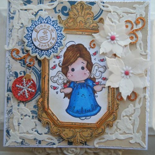 Kit et tutoriel pour carte de noel, dans des tons bleu, avec un personnage tilda de magnolia