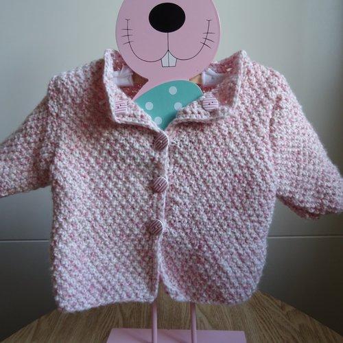 Gilet fille laine rose chiné taille 3 à 6 mois