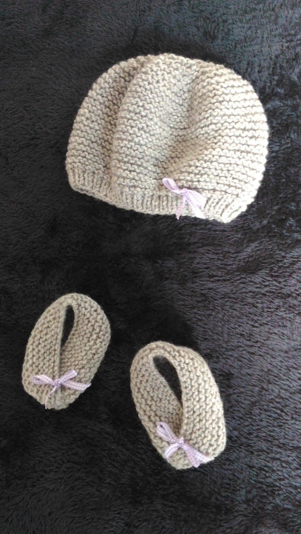 ensemble bébé naissance bonnet + chaussons
