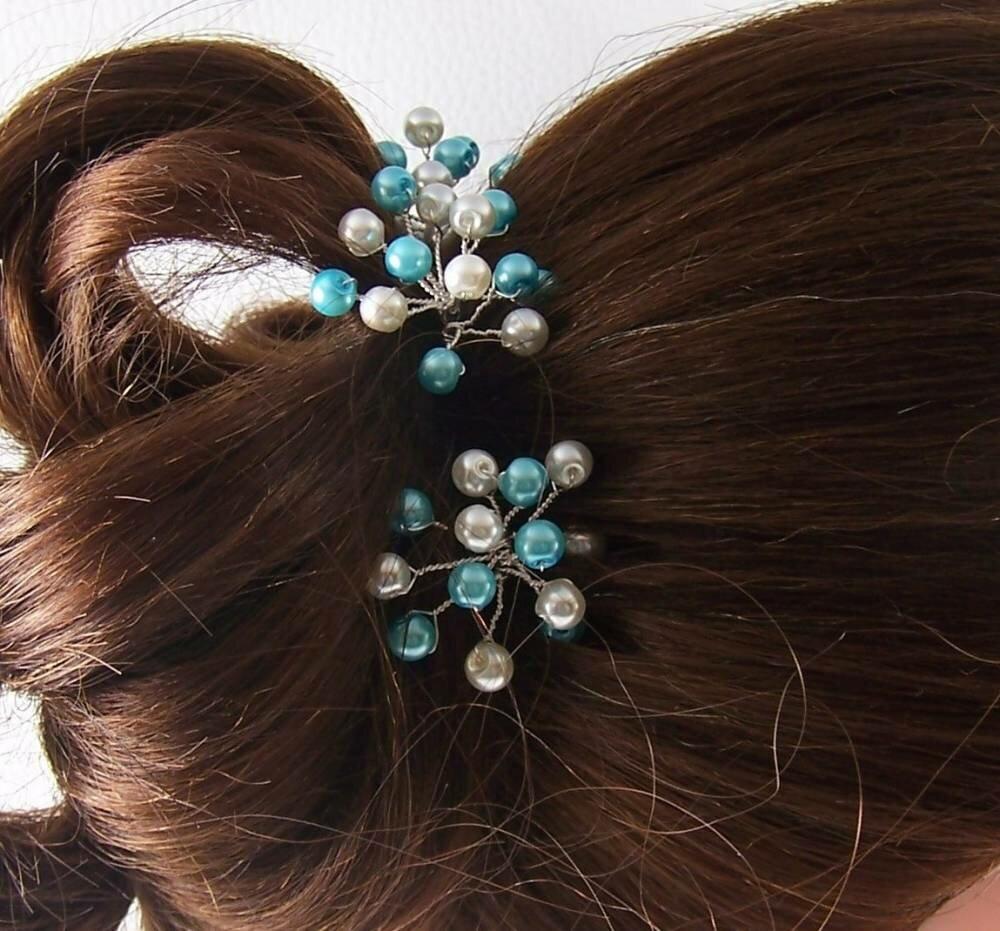 Pics à cheveux multiperles original pour mariée, demoiselle d'honneur ou soirée ivoire et turquoise