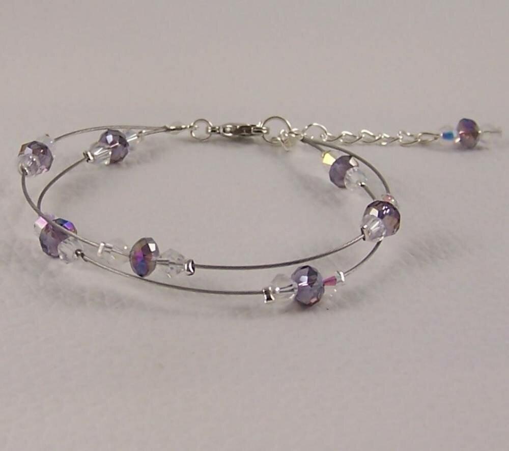 Bracelet 2 rangs pour mariée, demoiselle d'honneur, baptême ou soirée