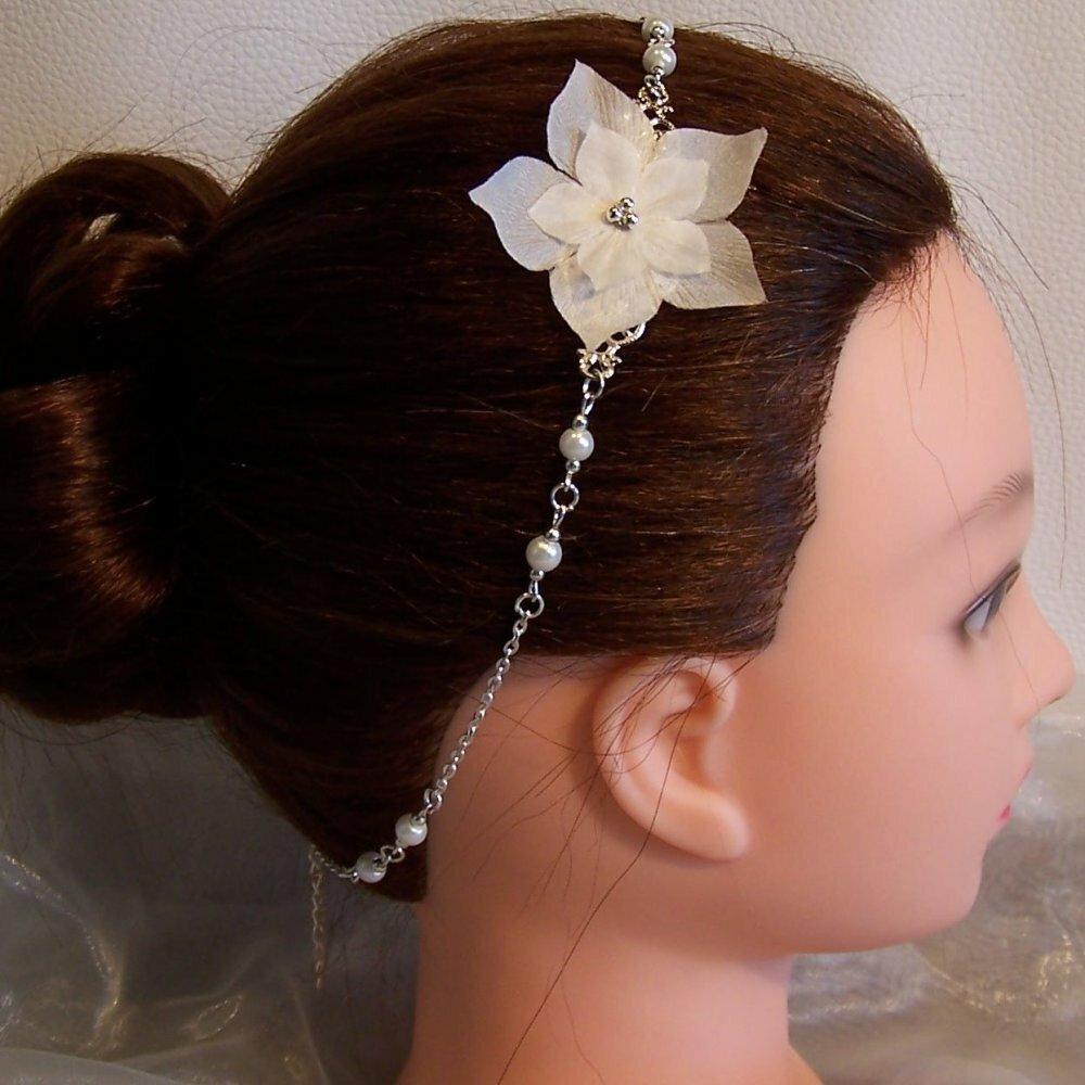 Accessoire coiffure mariée original serre-tête headband avec fleur de soie ivoire