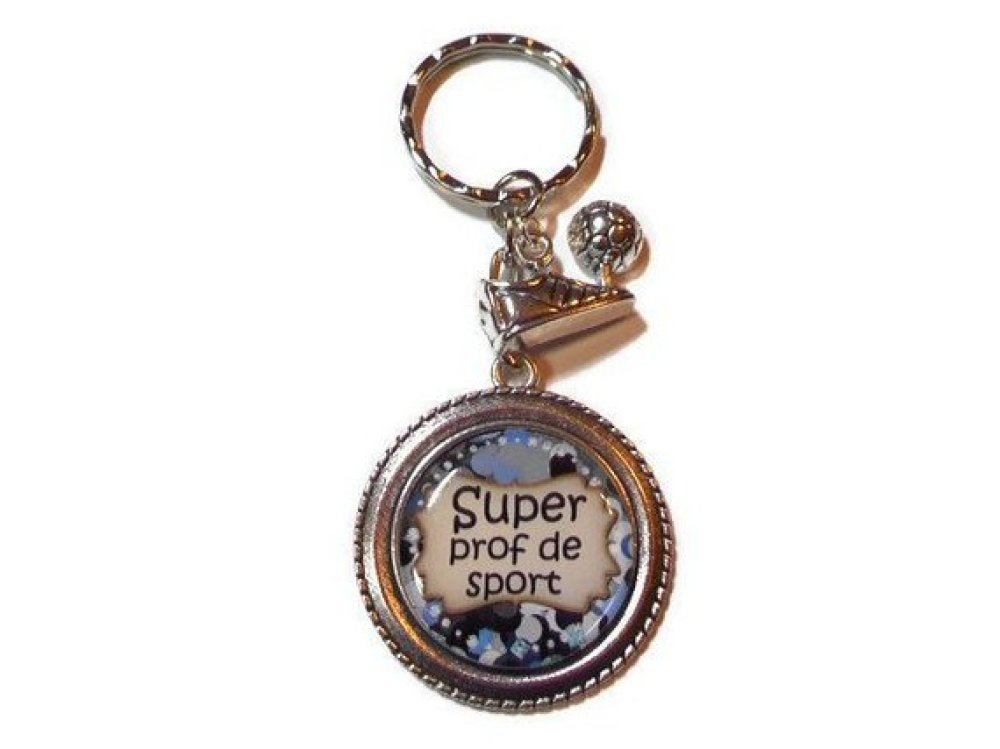 "Porte clés Prof, ""Super prof de sport "", cadeau prof de sport,idée cadeau,fait main"