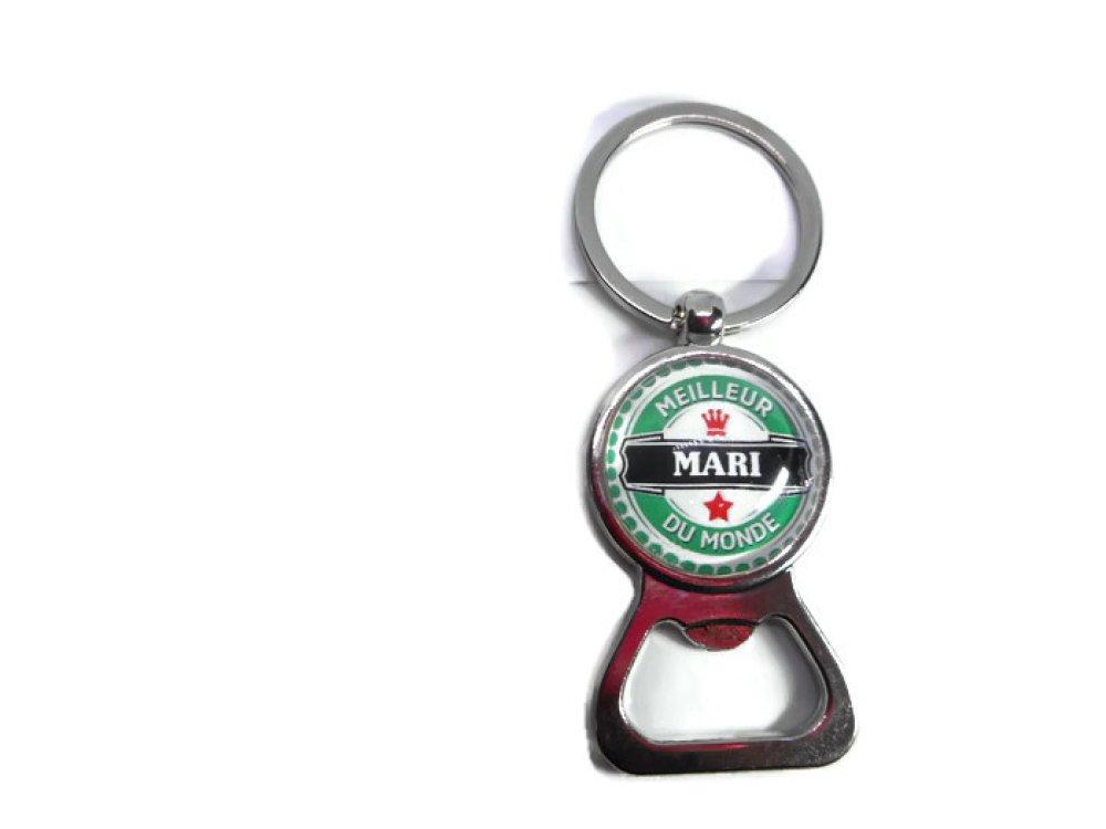 """Porte clés - décapsuleur  """"Meilleur mari du monde"""""""