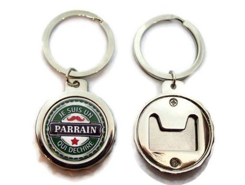 """Porte clés - décapsuleur """"Je suis un parrain qui déchire"""", cadeau parrain,en forme de capsule de bière"""