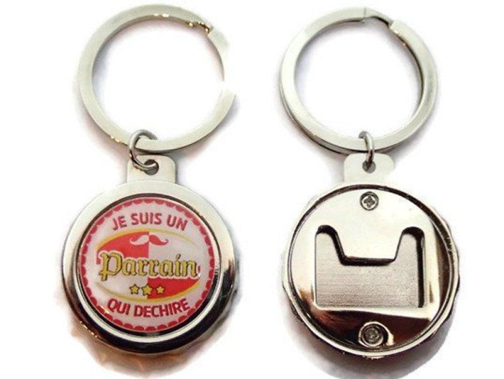 """Porte clés - décapsuleur """"Je suis un parrain qui déchire"""", cadeau parrain, en forme de capsule de bière"""