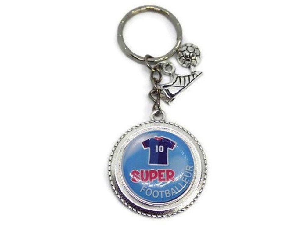"""Porte clés footballeur""""Super footballeur"""",cadeau personnalisé, sportif,foot"""