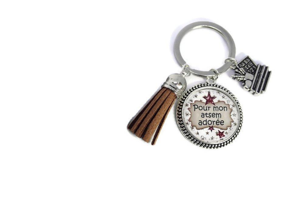 """Porte clés atsem où bijou de sac , """"Pour mon atsem adorée"""", idée cadeau de fin d'année scolaire"""