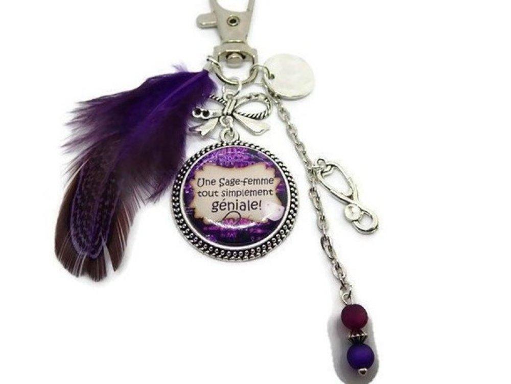 """Bijou de sac, porte clés,""""Une sage-femme tout simplement géniale"""", cadeau sage-femme,plume violette"""