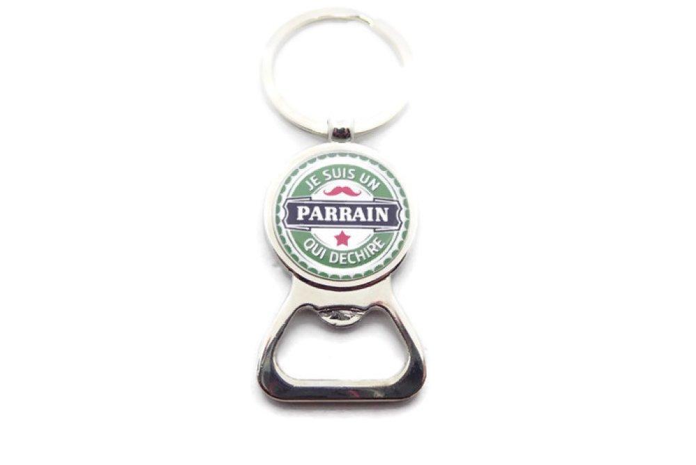 """Porte clés cadeau parrain, décapsuleur,"""" Je suis un parrain qui déchire"""",baptême"""