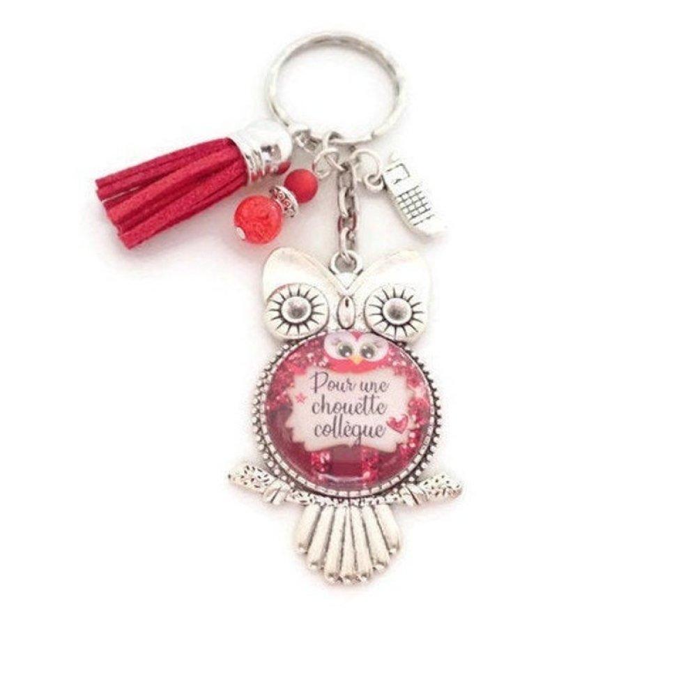 """Porte clés ou bijou de sac,""""Pour une chouette collègue"""" cadeau pour une collègue de travail"""
