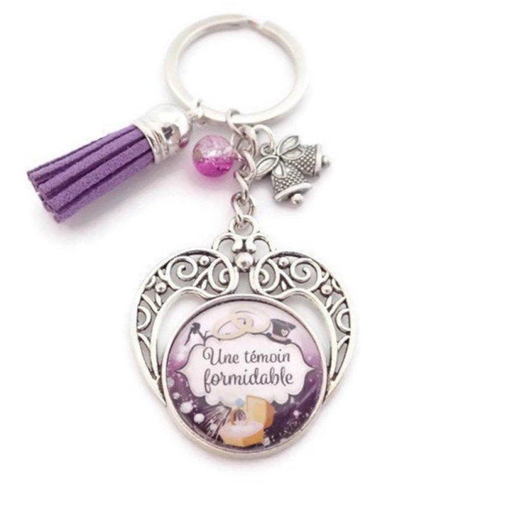 """Porte clés témoin ou bijou de sac """"Une témoin formidable"""", cadeau, mariage"""