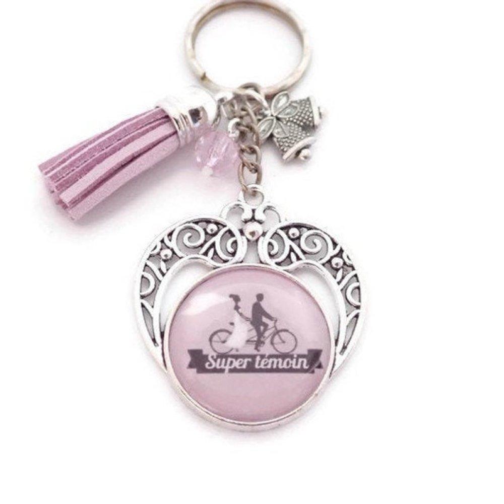 """Porte clés témoin ou bijou de sac """"Super témoin"""", cadeau, mariage"""