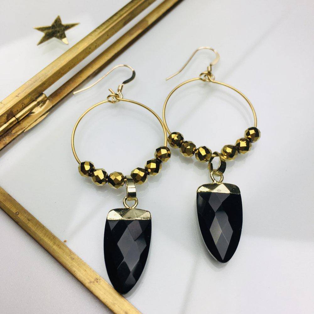"""Créoles acier inoxydable doré """"Sirius""""Onyx noire et hématite"""