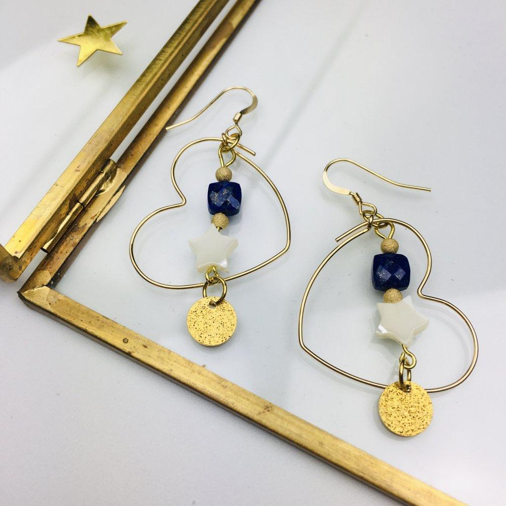 """Boucles d'oreilles créoles coeur gold filled 14K """"Joli Coeur"""" pierre lapis-lazuli"""