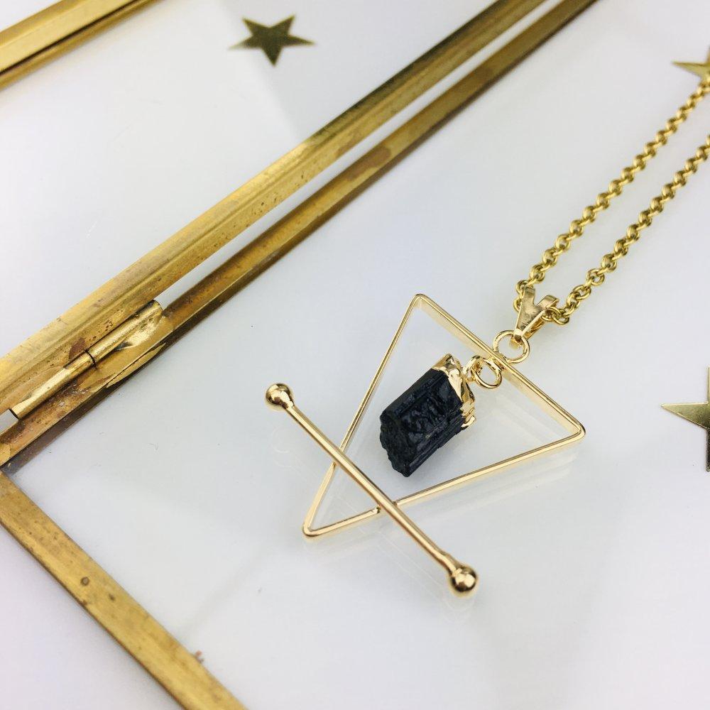 """Collier acier inoxydable doré """"Elément Terre"""" pierre tourmaline noire"""
