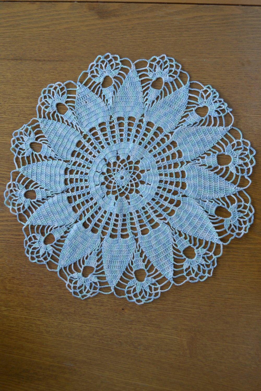 Fait main Napperon 35 cm, bleu clair chiné, rond réalisé au crochet avec du coton fin bleu