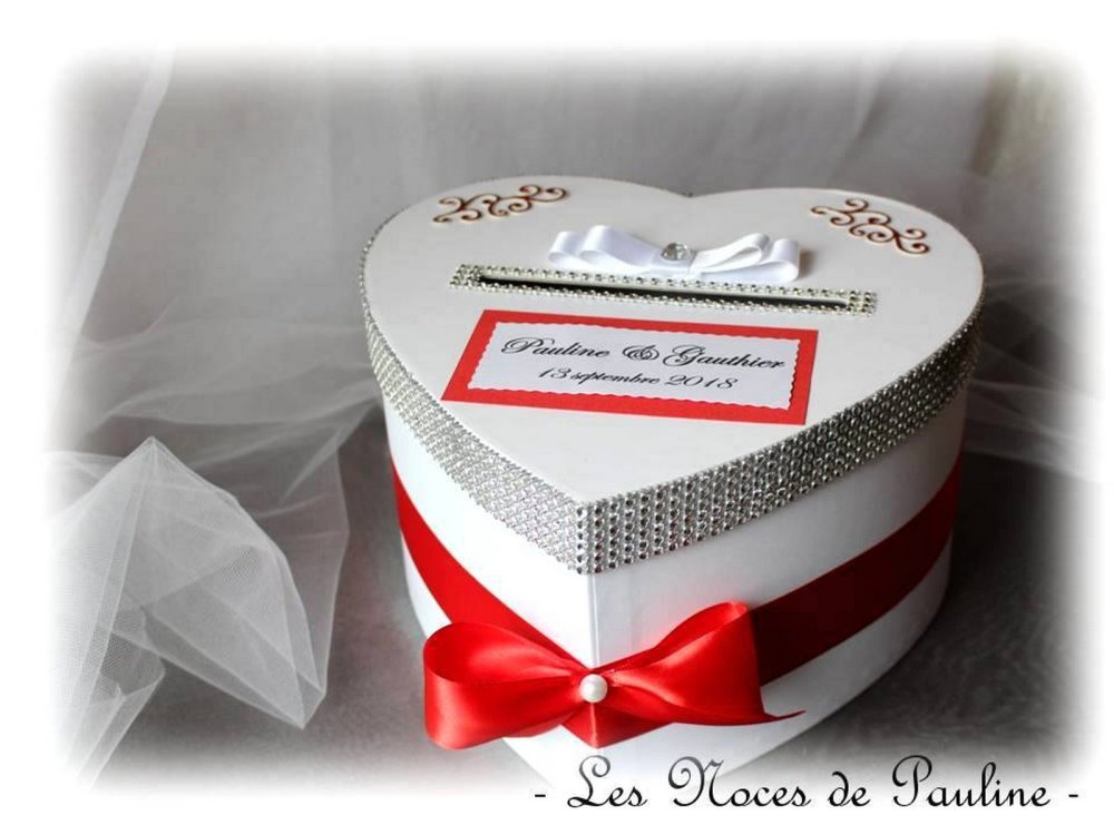 Urne de mariage rouge et strass Cœur, urne Tirelire Boite cadeaux mariage Personnalisée
