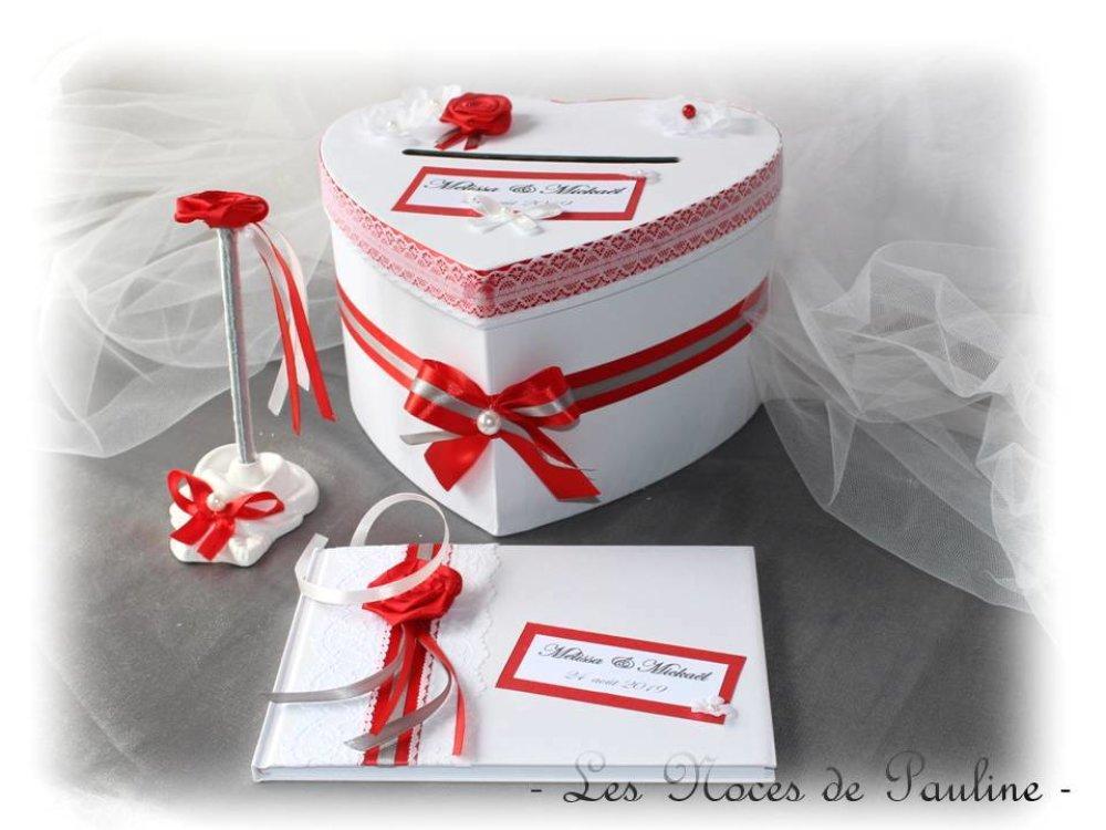 Urne de mariage rouge,gris et blanc Coeur,  Tirelire Boite cadeaux, mariage Personnalisé, rose et dentelle, urne cœur rouge