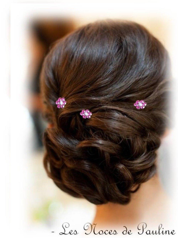 Pics A Chignon Fleurs Strass Rose Fuchsia Lot De 3 Mariage Un Grand Marche