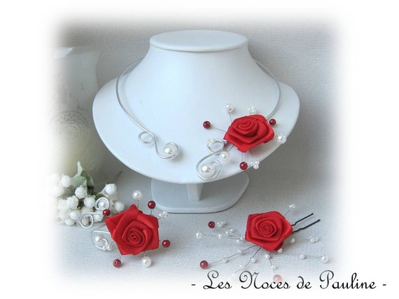 Couronne de fleurs mariage rouge et blanc Roses asymétrique