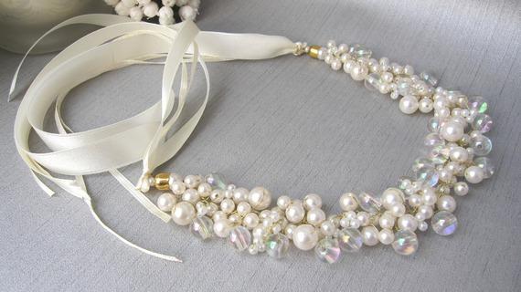 Collier mariage blanc Ivoire doré Anastasia collection 'Torsade' b