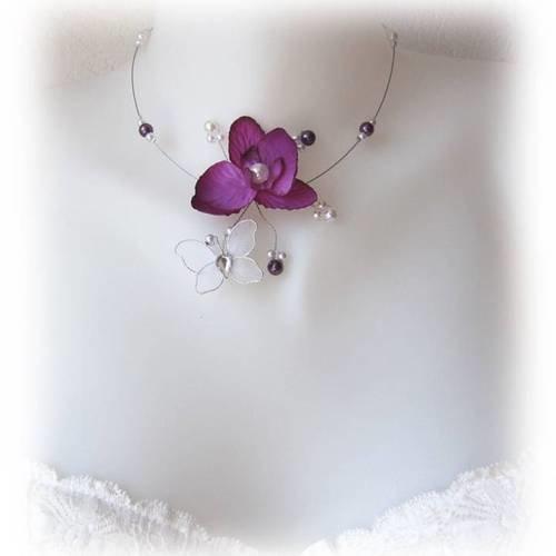Collier mariage violet et blanc orchidée papillon esther e