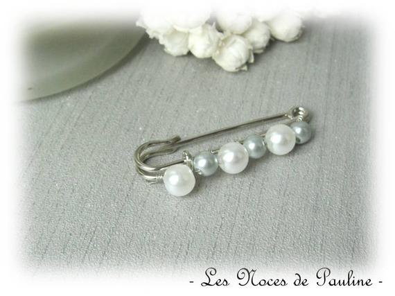 Attache traîne blanc et gris à perles, mariage PM a
