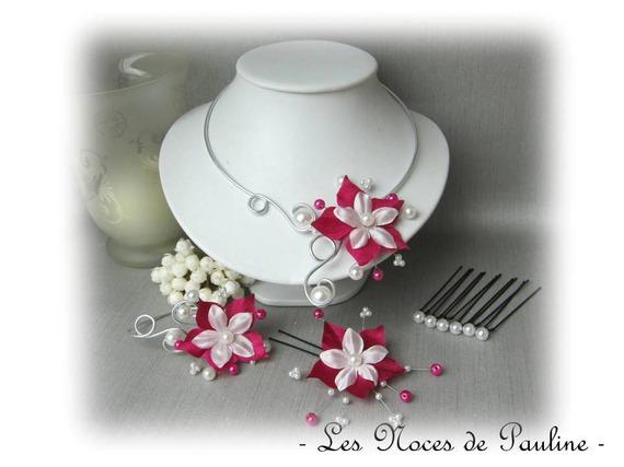 Serre-tête mariage fuchsia et blanc à fleur de satin  'Les Volutes'