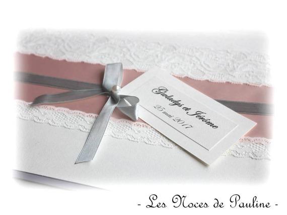 Livre d'or mariage rose, gris et ivoire Dentelle GM