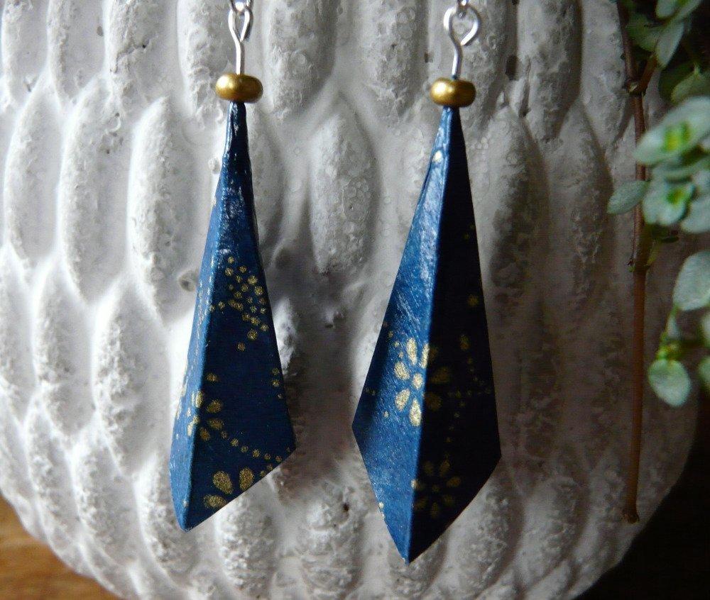 Boucles d'oreilles origami pendants d'oreilles papier bleu et or