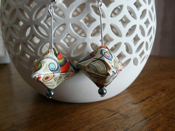 Boucles d'oreilles origami berlingot diamant multicolore