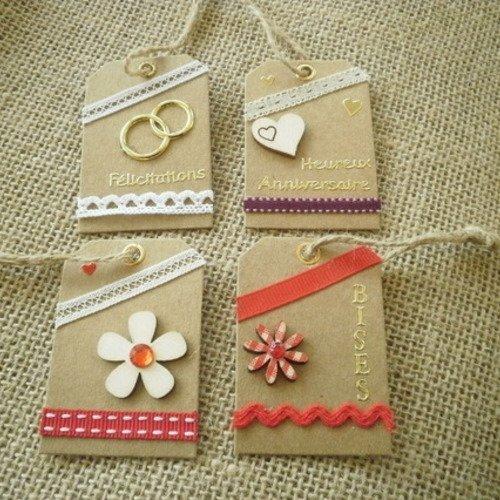 Lot (5) de 4 étiquettes pour cadeaux , faites main , différents décors