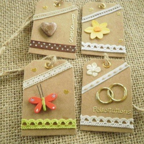 Lot (15) de 4 étiquettes pour cadeaux , faites main , différents décors