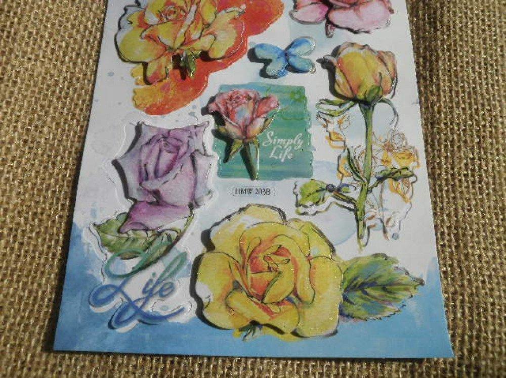 """Planche de stickers en carton   , thème """"roses"""" , modèles divers"""