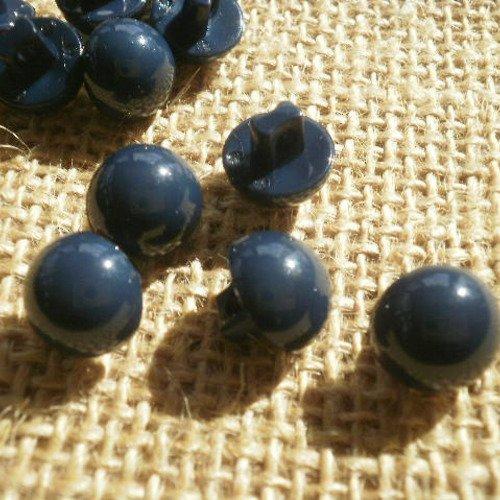 Lot de 4 boutons  boules en plastique  , coloris bleu foncé  , diamètre 11 mm