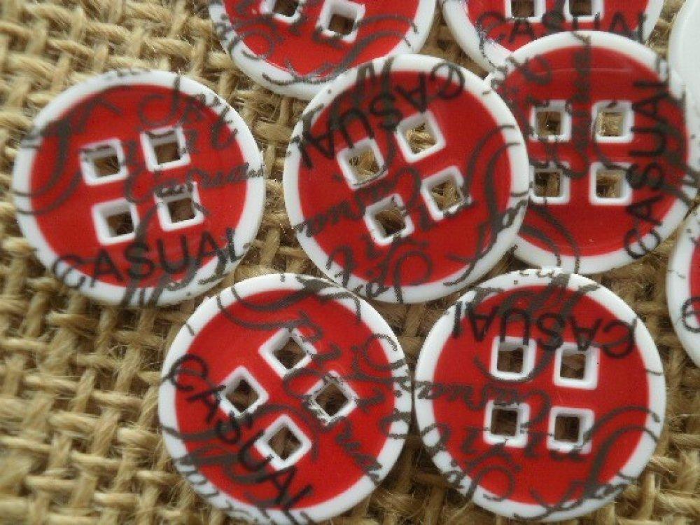 LOT 6 BOUTONS Rouge Translucide 15 mm  4 trous  red button mercerie 1,5 cm