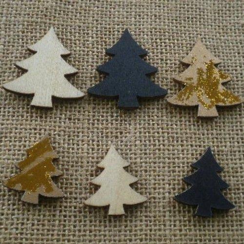 Lot de 12 sapins en bois , coloris brut , noir et doré , 2 tailles